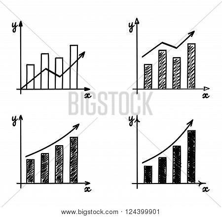 Trendy hand-drawn vector bar graph coordinate net design