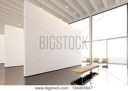 Photo exposition modern gallery, open space.Big white empty canvas hanging contemporary art museum. Interior loft style with concrete floor, light spots and generic design furniture.