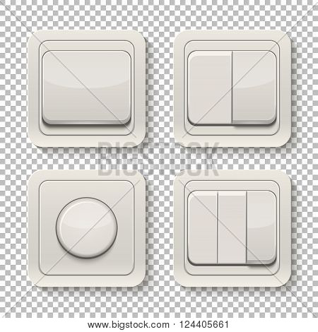 Set of realistic switches isolated on a transparent background. Vector EPS10 illustration.