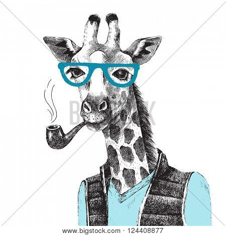 Hand drawn Illustration of dressed up giraffe hipster