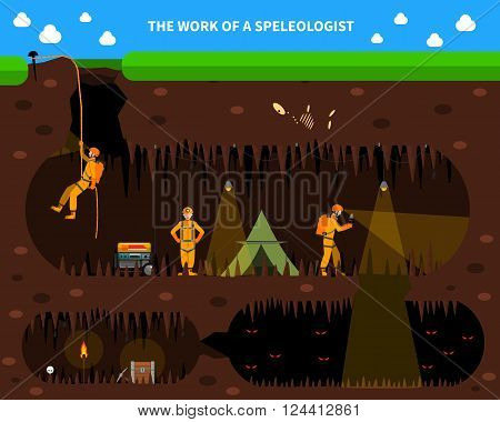 Speleologists exploring deep cave with stalagmites and stalactites flat dark background banner with bats abstract vector illustration poster