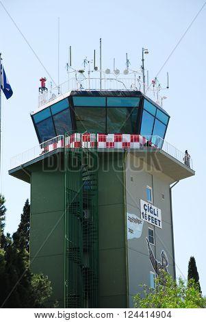 IZMIR/TURKEY-JUNE 5, 2011: Control tower of 2nd Main Jet Base-Cigli during the air fest. June 5, 2011-Izmir/Turkey