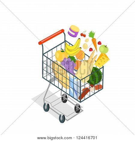 Shopping trolley products food. Shopping cart icon, supermarket and food, product grocery and cart shopping, vegetable vector illustration