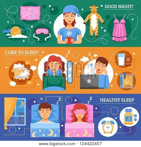 Healthy sleep habits concept 3 flat horizontal banners set with infographic elements abstract isolated vector illustration