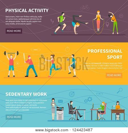 Set of horizontal color banners about different physical activity from professional sport to sedentary work detector vector illustration
