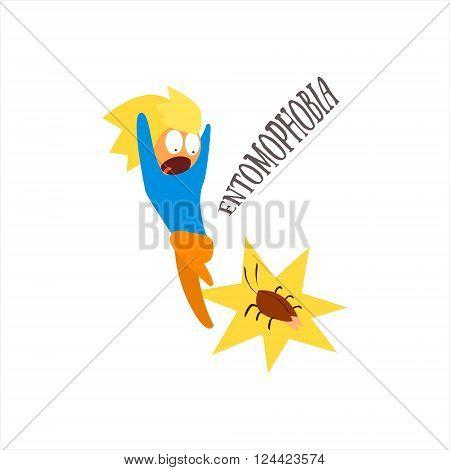 Entomophobia  Simplified Design Flat Vector Illustration On White Background