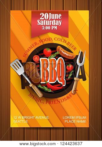 BBQ Grill flyer with elements. Typographical Design. Vector illustration.