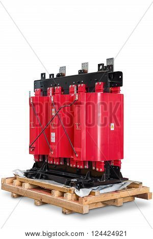 Dry type cast resin transformer for indoor installation, isolated on white background with clipping path