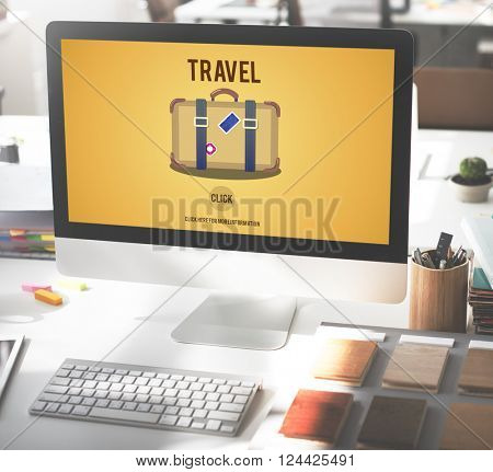 Business Travel Luggage Computer Concept