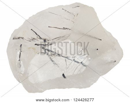 Quartz with rutile macro isolated on white
