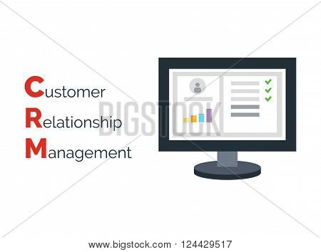 Customer Relationship Management. Flat icon of accounts in computer system. Customer database and CRM inscription.