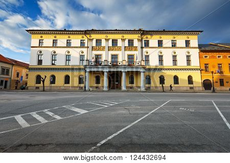 LEVOCA, SLOVAKIA - MARCH 18, 2016: County house in medieval town of Levoca in eastern Slovakia on March 18, 2016.