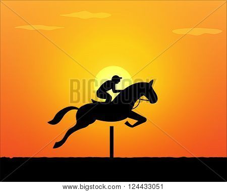 Horse Jumping in sunset time. vector background