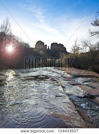 A View of Sedona's Oak Creek Rushing by Cathedral Rock