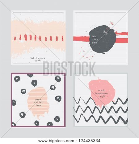 Set of square cards handdrawn decorated with liquid ink brush splashes blots stripes strokes and spots. Isolated on grey background vector branding illustration stylish with imperfect parts.