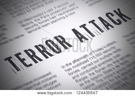Terror Attack inscription written in a newspaper