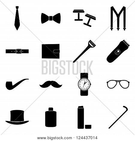 Set of black icons of men's accessories, vector illustration