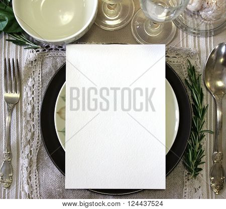 Table card mockup menu mockup. Vintage fashion photography. Wedding dinner design. Place card reserved card. Beautiful dishware. European traditional style
