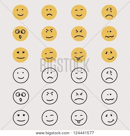 Set Of Hand Drawn Emoticons Or Smileys.