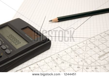 Calculator, Pencil And Ruler