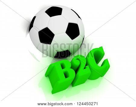 3D illustration B2C bright volume letter word football half ball on white background