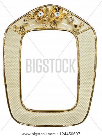 Rich gilded porcelain frame inlaid with rhinestones isolated and with empty space
