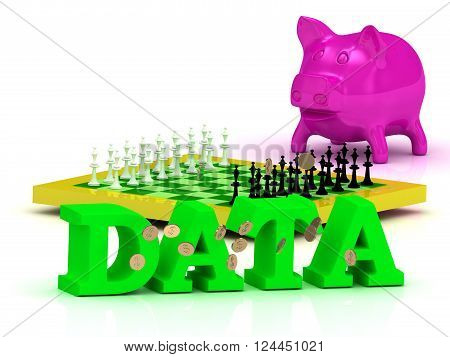 3D illustration DATA bright word money pink piggy yellow chess on white background