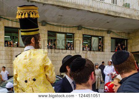 JERUSALEM ISRAEL - FEBRUARY 25 2016: A crowd of ultra-orthodox Jews protest against the police in the neighborhood of Mea Shearim Jerusalem Israel