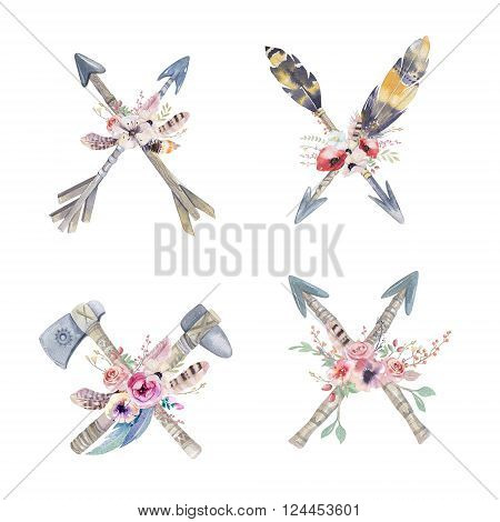 Watercolor colorful ethnic set of arrows and flowers in native American style.Tribal Navajo isolated illustration ornament on white background. Indian Peru Aztec wrapping illustration.