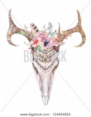 Watercolor bohemian deer skull. Western mammals. Watercolour boho decoration print antlers with flowers feathers. Isolated on white background. Boho style. Hand drawn illustration. Ethnic themed design.