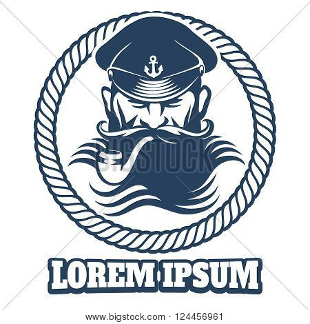 Captain logo or captain tattoo element. Vector illustration