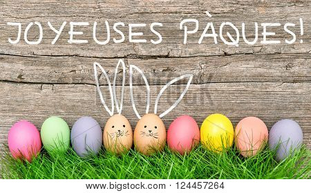 Easter eggs cute bunny. Funny decoration. JOYEUSES PÀQUES! - Happy Easter in french