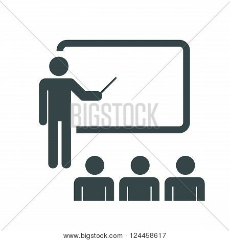 Training, education and presentation icon. with the audience. Vector illustration. Black-white pictogramm