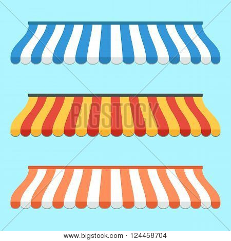 Set of colorful striped awnings for shop and marketplace. Flat design. Vector illustration