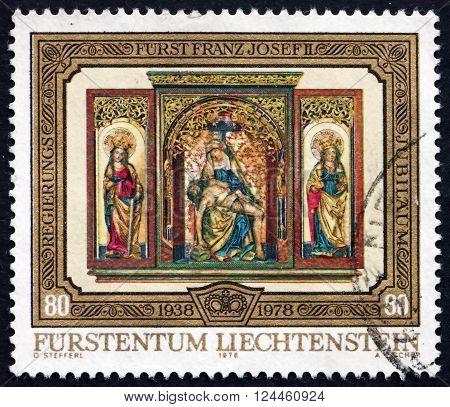 LIECHTENSTEIN - CIRCA 1978: a stamp printed in the Liechtenstein shows Triptych from High Altar Vaduz Castle Chapel circa 1978