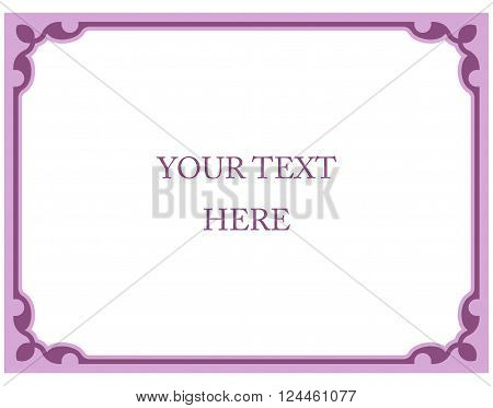 Simple Pink Vector Line Border Frame Isolated Illustration