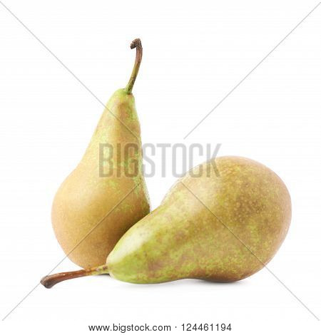 Two green pears composition isolated over the white background