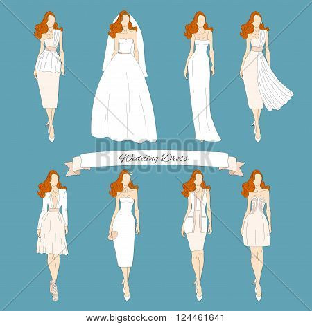 Wedding draw dresses set. Bridal vector illustration.