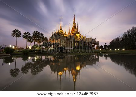 Landmark wat thai, sunset in temple at Wat None Kum in Nakhon Ratchasima province Thailand ..