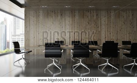 Interior of  boardroom with wooden wall 3D rendering