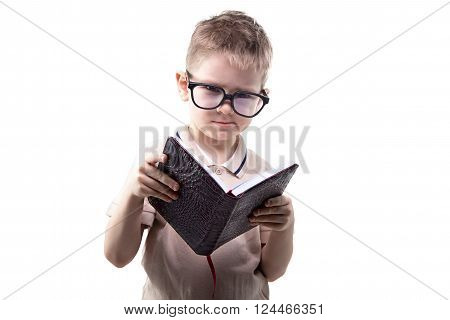 Little disagree boy reading book on white background