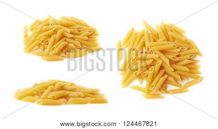 Pile of dry yellow penne pasta isolated over the white background, set of three different foreshortenings