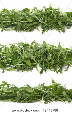 Eruca sativa rucola arugula fresh green rocket salad leaves lined up in a row, composition isolated over the white background, set of three different foreshortenings