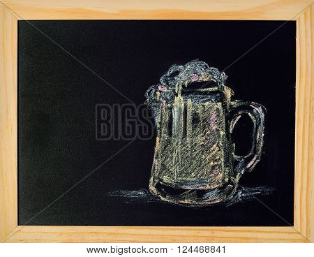 Picture drawing a glass of beer on blackboard with wooden easel on white background