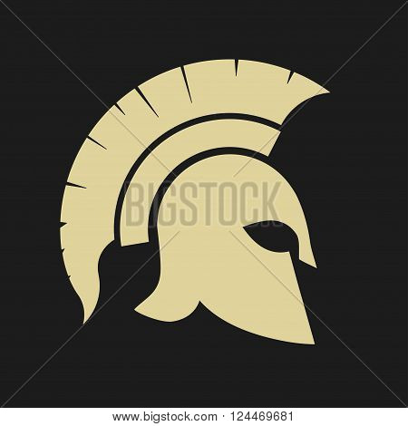 Gladiator icon, Trojan Helmet silhouette, Greek warrior - Spartan, legionnaire heroic soldier. vector