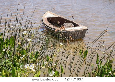 Small leisure boat used by local fisherman at Juan Lacaze's harbour, Colonia, Uruguay ** Note: Shallow depth of field