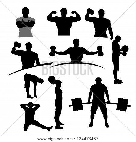 illustration of sport male silhouette set in different poses