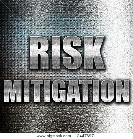 Grunge metal Risk mitigation sign with some smooth lines and highlights poster