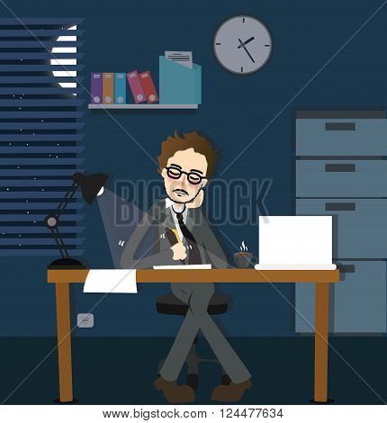 man working late night deadline in office alone dark overtime  sitting desk with lamp vector