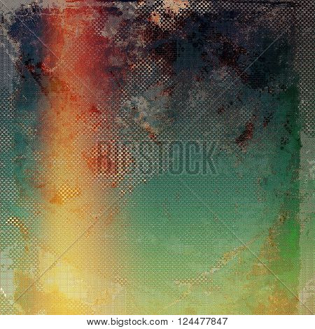 Old, grunge background or damaged texture in retro style. With different color patterns: yellow (beige); brown; green; blue; red (orange); pink